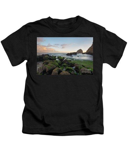 Mossy Rocks At The Beach Kids T-Shirt