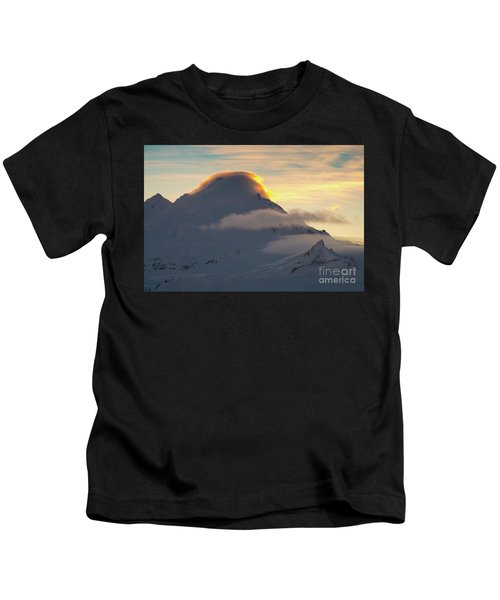 Mount Baker Sunset Lenticular Fire Kids T-Shirt