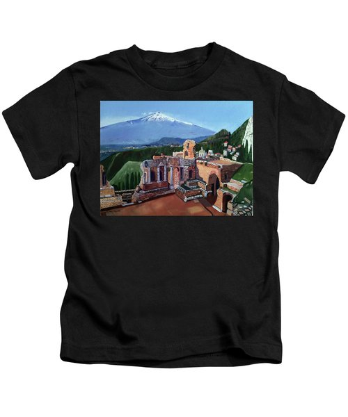 Mount Etna And Greek Theater In Taormina Sicily Kids T-Shirt