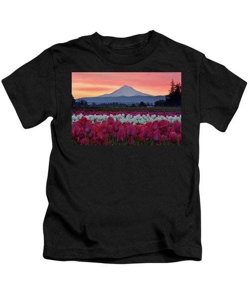 Mount Hood Sunrise With Tulips Kids T-Shirt