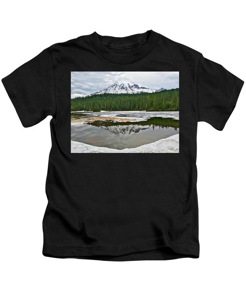 Mount Rainier From Reflection Lakes Kids T-Shirt