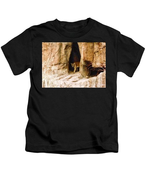 Kids T-Shirt featuring the photograph Mountain Lion In The Desert by Judy Kennedy
