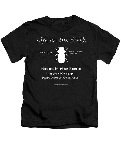 Mountain Pine Beetle White On Black Kids T-Shirt