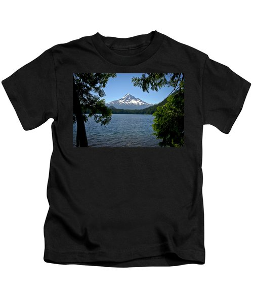 Mt Hood Over Lost Lake Kids T-Shirt