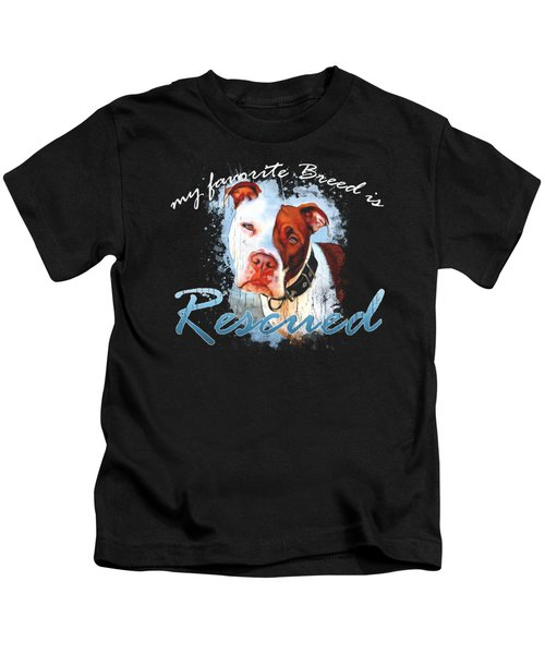 My Favorite Breed Is Rescue Watercolor 3 Kids T-Shirt