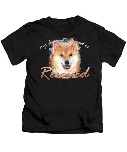 My Favorite Breed Is Rescued Watercolor 4 Kids T-Shirt