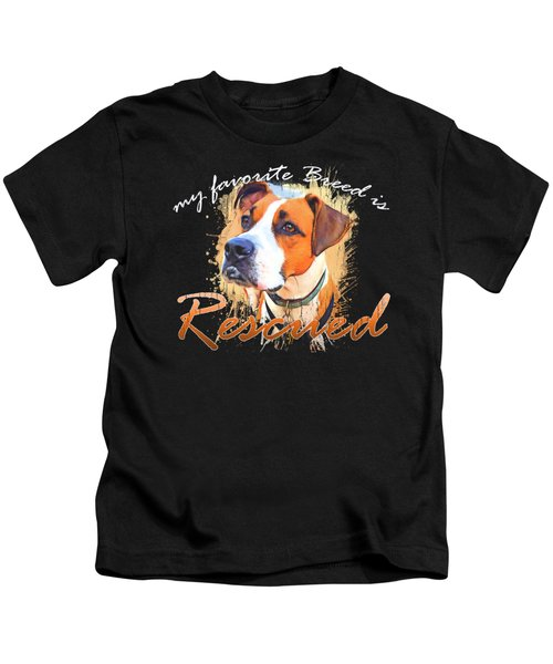 My Favorite Breed Is Rescued Watercolor 5 Kids T-Shirt