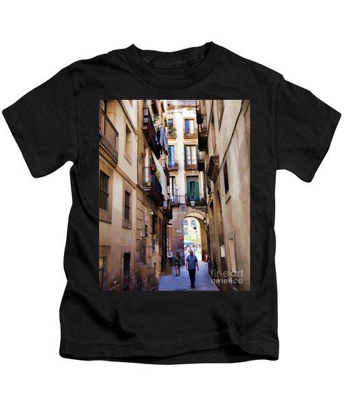 Narrow Street Barcelona Gothic Quarter People Street Kids T-Shirt