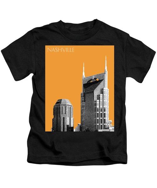 Nashville Skyline At And T Batman Building - Orange Kids T-Shirt by DB Artist