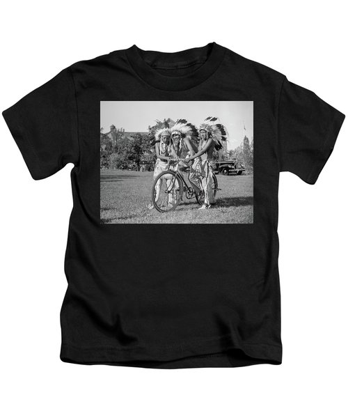 Native Americans With Bicycle Kids T-Shirt