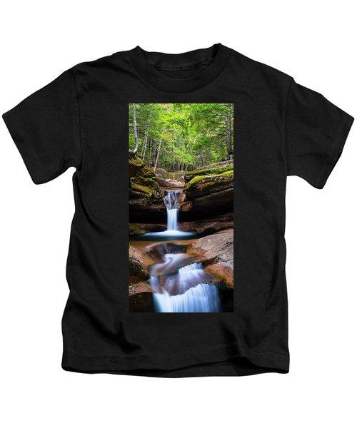 New Hampshire Sabbaday Falls And Fall Foliage Panorama Kids T-Shirt
