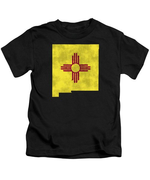 New Mexico Map Art With Flag Design Kids T-Shirt