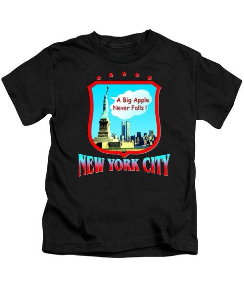 New York City Big Apple - Tshirt Design Kids T-Shirt by Art America Gallery Peter Potter