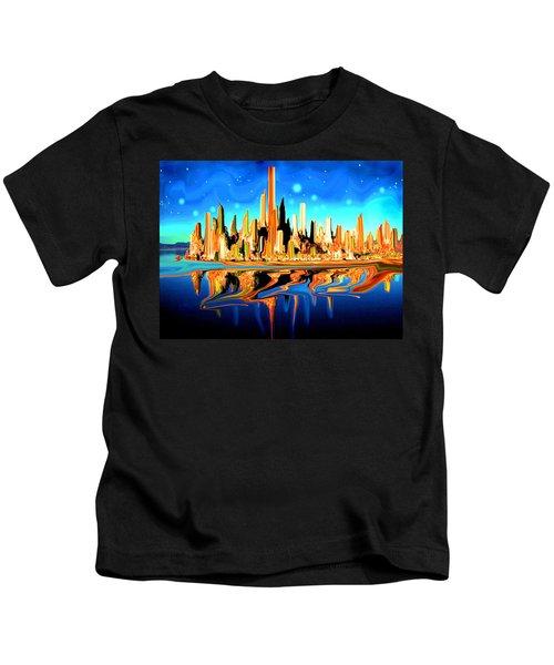 New York Skyline In Blue Orange - Modern Fantasy Art Kids T-Shirt