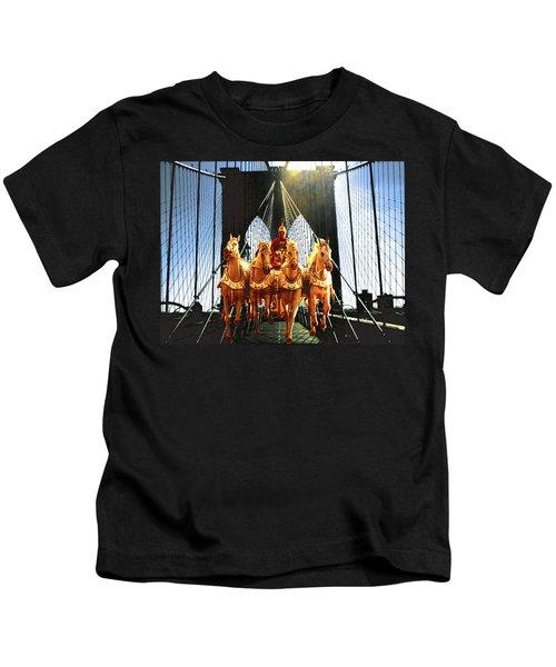 New York Brooklyn Bridge Fantasy Collage Kids T-Shirt