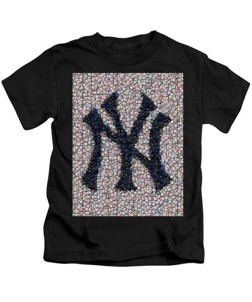 New York Yankees Bottle Cap Mosaic Kids T-Shirt