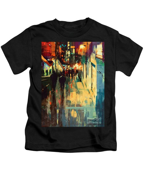 Kids T-Shirt featuring the painting Night Alleyway by Tithi Luadthong