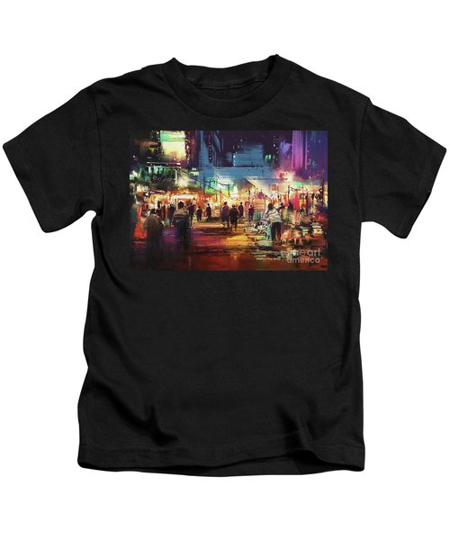 Kids T-Shirt featuring the painting Night Market by Tithi Luadthong