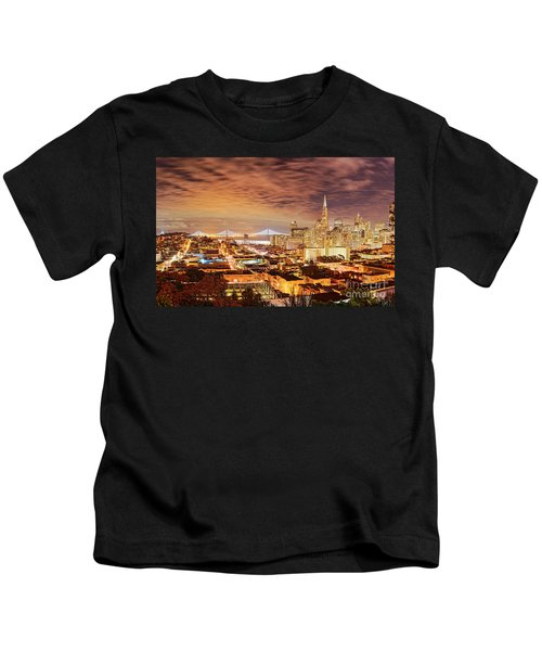 Night Panorama Of San Francisco And Oak Area Bridge From Ina Coolbrith Park - California Kids T-Shirt