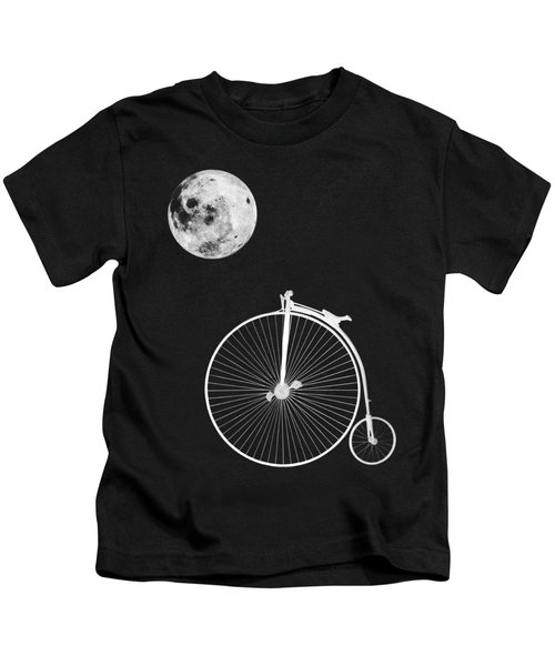 Night Rider - Penny Farthing And Moon Kids T-Shirt