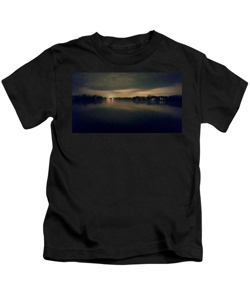 Night Sky Over Lake With Clouds Kids T-Shirt