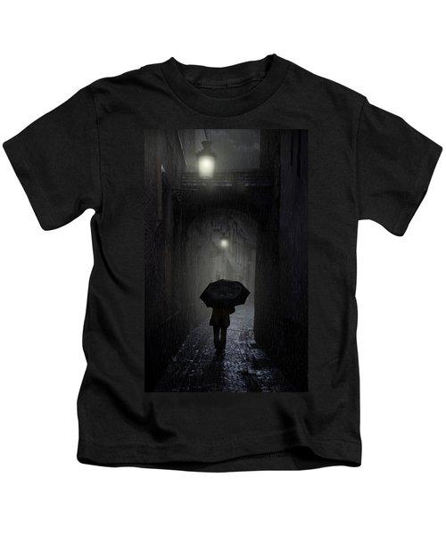Night Walk In The Rain Kids T-Shirt