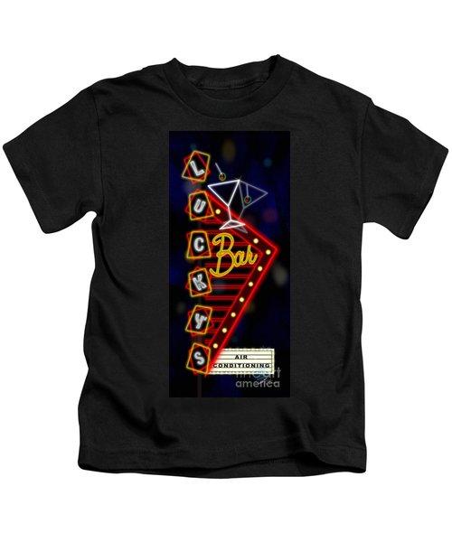 Nightclub Sign Luckys Bar Kids T-Shirt