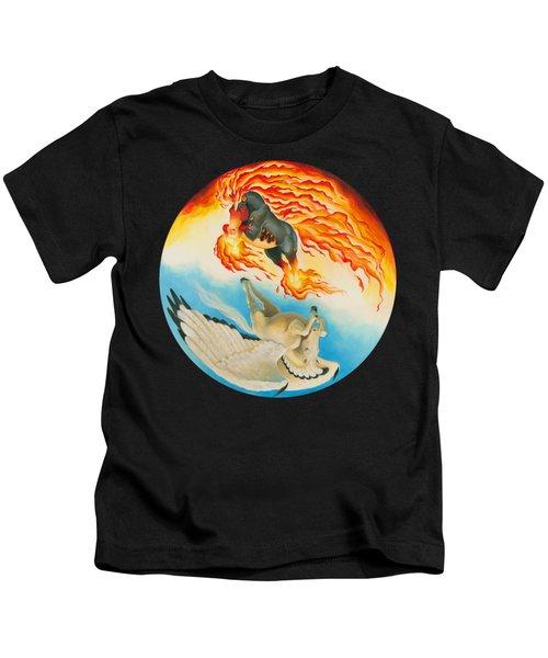 Nightmare And Mesa Pegasus Yin Yang Kids T-Shirt by Melissa A Benson