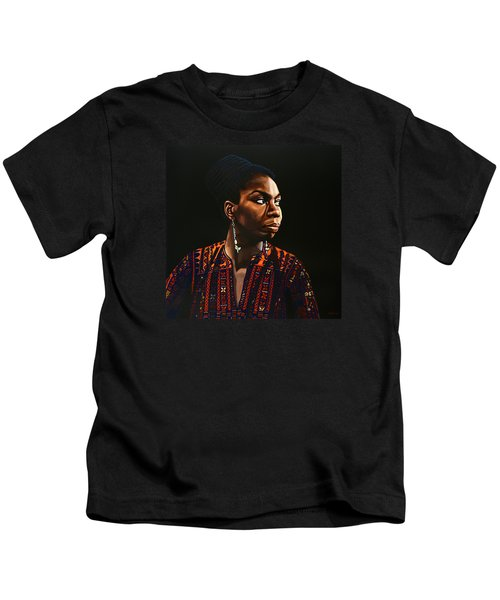 Nina Simone Painting Kids T-Shirt by Paul Meijering