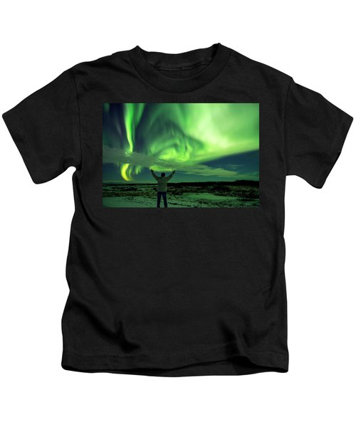 Northern Light In Western Iceland Kids T-Shirt