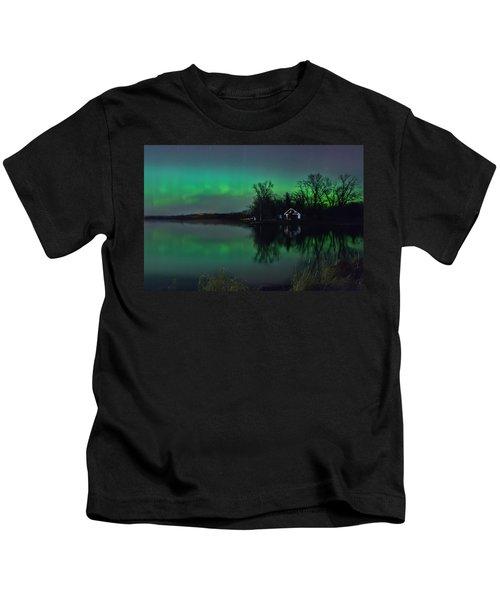 Northern Lights At Gull Lake Kids T-Shirt