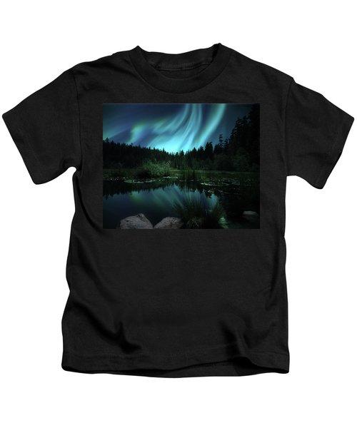 Northern Lights Over Lily Pond Kids T-Shirt