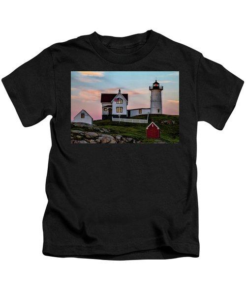 Nubble Lighthouse At Dusk  Kids T-Shirt