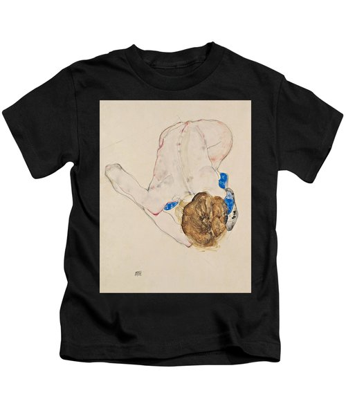 Nude With Blue Stockings, Bending Forward Kids T-Shirt
