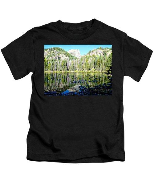 Nymph Lake And Flattop Mountain Kids T-Shirt