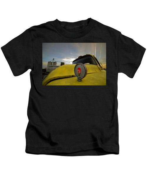 Old Chevy Truck With Grain Elevators In The Background Kids T-Shirt