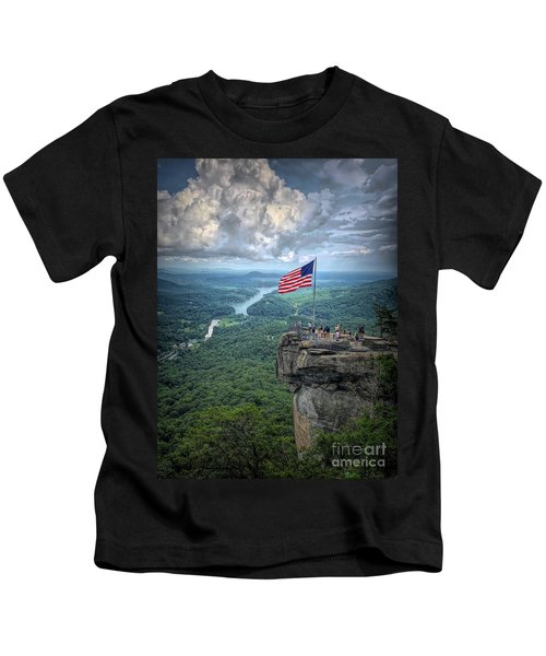 Old Glory On The Rock Kids T-Shirt