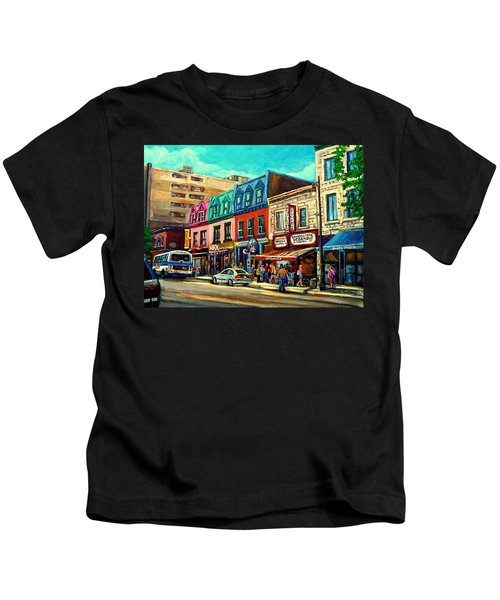 Old Montreal Schwartzs Deli Plateau Montreal City Scenes Kids T-Shirt