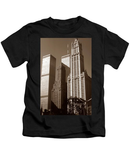 Old New York Photo - Woolworth Building And World Trade Center Kids T-Shirt
