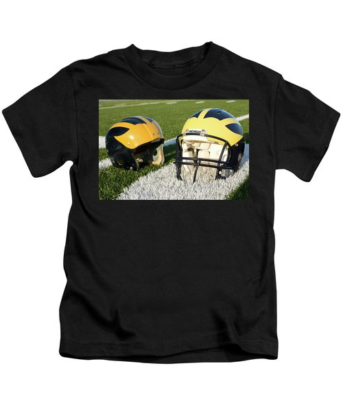 One Old, One New Wolverine Helmets On The Field Kids T-Shirt