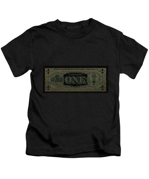 One U. S. Dollar Bill Reverse - Gold On Black Kids T-Shirt
