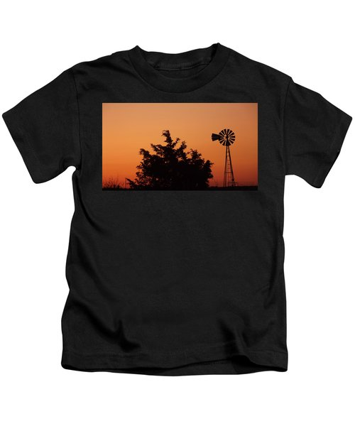 Orange Dawn With Windmill Kids T-Shirt