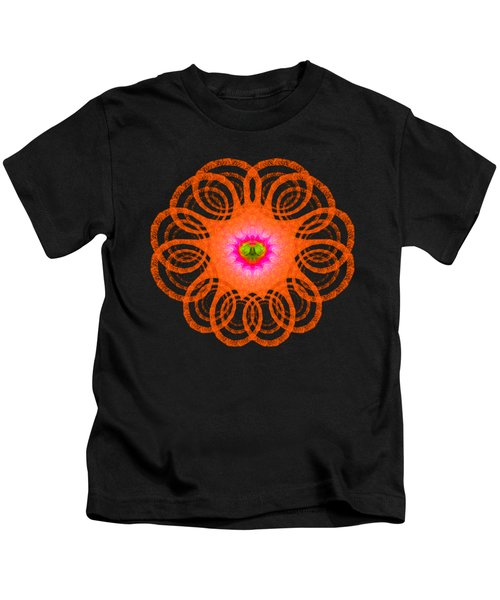 Orange Fractal Art Mandala Style Kids T-Shirt