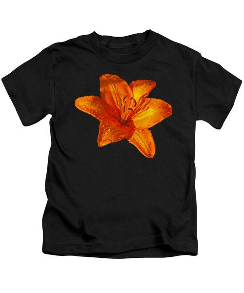 Orange Lily In Sunshine After The Rain Kids T-Shirt