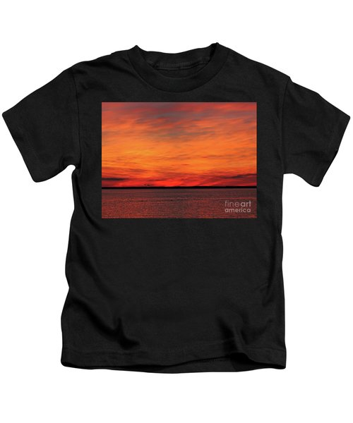 Orange Sunset On The New Jersey Shore Kids T-Shirt