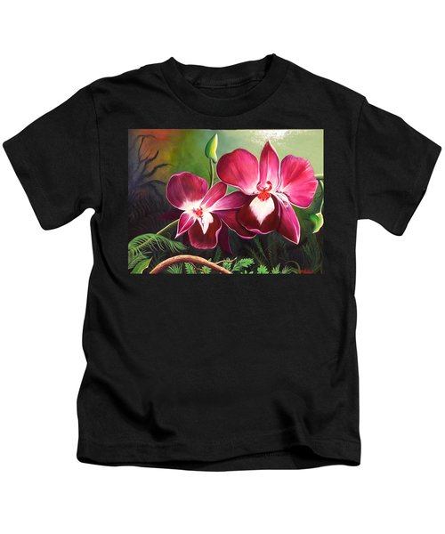 Orchids In The Night Kids T-Shirt