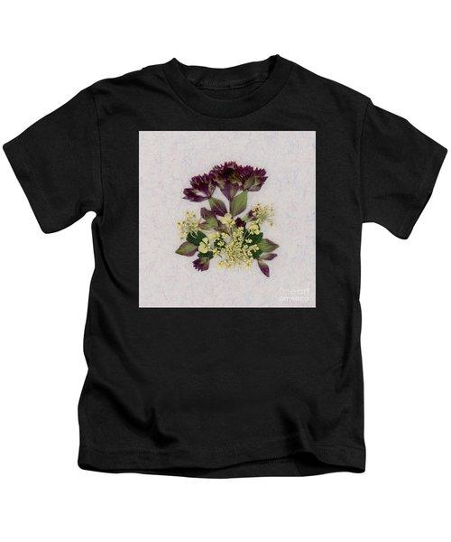 Oregano Florets And Leaves Pressed Flower Design Kids T-Shirt