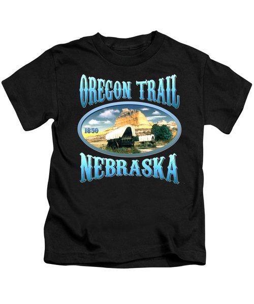 Oregon Trail Nebraska History Design Kids T-Shirt