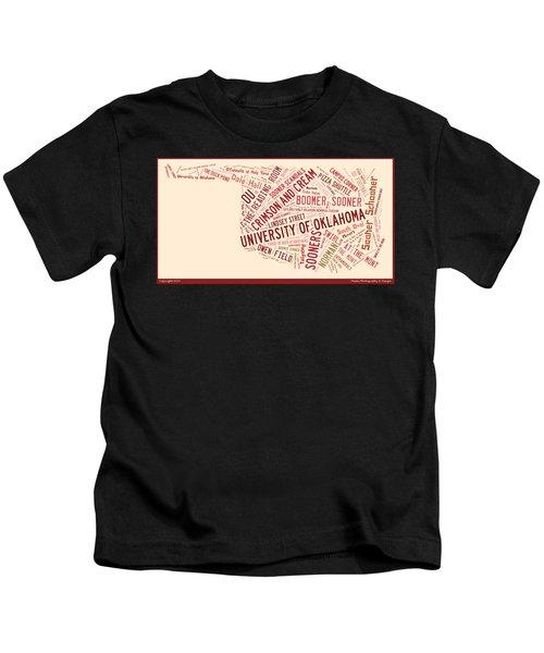 Ou Word Art University Of Oklahoma Kids T-Shirt by Roberta Peake