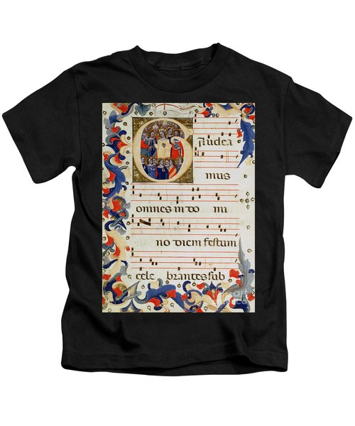 Page Of Musical Notation With A Historiated Letter G Kids T-Shirt